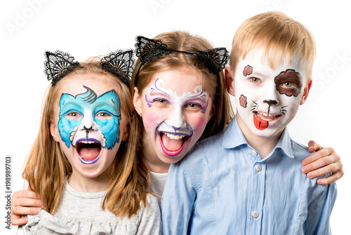 Fotografía  Children with animal face paintings isolated