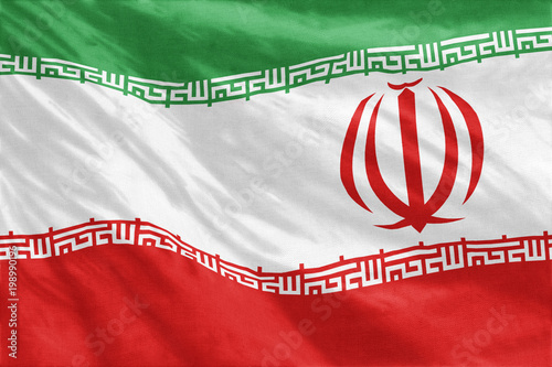 Fotografie, Obraz  Flag of Iran full frame close-up