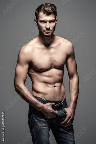 Tuinposter Akt muscular handsome man
