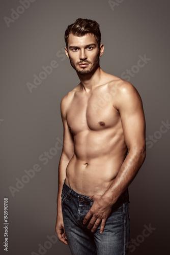 Deurstickers Akt sexy young man