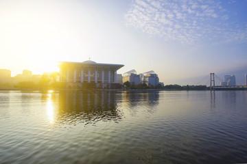 Sunset view at Masjid Besi (Iron Mosque) or Masjid Tuanku Mizan Zainal Abidin, Putrajaya, Malaysia.