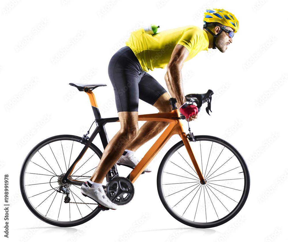 Fototapeta Professinal road bicycle racer isolated on white