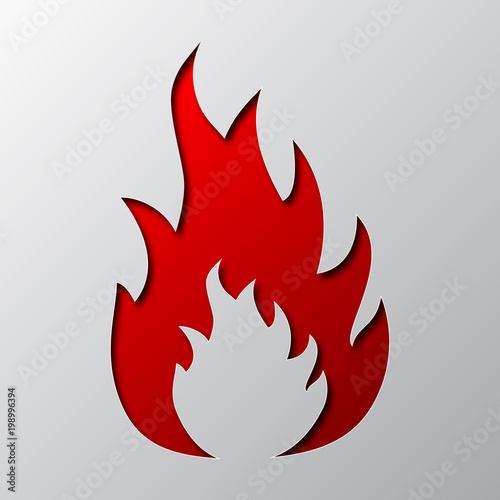 Fototapeta Paper art of the red fire. Vector illustration.