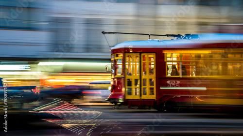 An electric trolley along Canal Street in new Orleans Louisiana , march of 2018