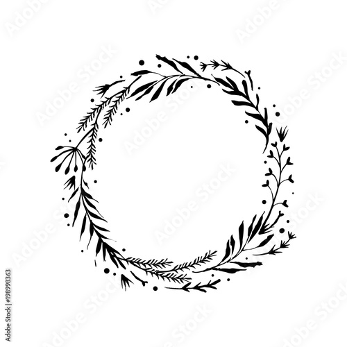 Floral Rustic Branch Wreath For Wedding Invitation Template Design