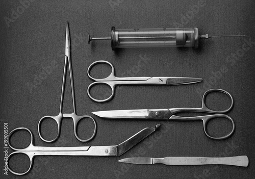 Surgical Instruments (forceps, metalglass syringe, various types of