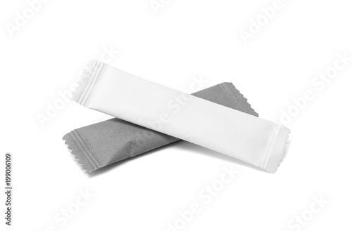 Fototapeta blank packaging sugar paper sachet isolated on white background obraz
