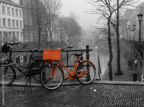 Aluminium Prints Bicycle Utrecht Orange Bike