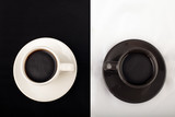 Two cups of black coffee from above