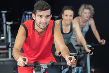 Sporty People On Spinning Class