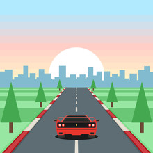 Retro Game Racing. Motor Vehicles Rides On Highway On Sunset Background. Vector Illustration In Flat Style Design
