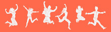 Jumping People Silhouette On The Orange Background.various Poses Jumping People Character. Hand Drawn Style Vector Design Illustrations.happiness, Freedom, Motion And People Concept.Horizontal Banner