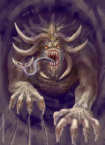 Obraz na plátně  A huge monster with horns crawls out of the cave