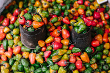 Colorful Pepper On Street Market