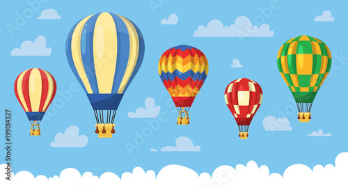 Flat hot air balloon Fototapet