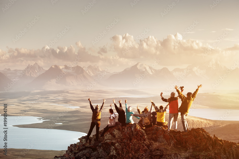 Fototapety, obrazy: Big group of people success mountain top