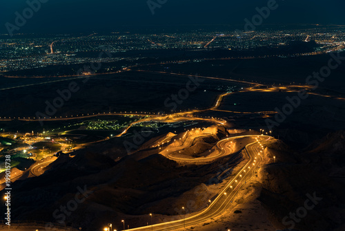 Photo View to Al Ain from the top of Jebel Hafeet mountain