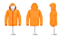 Vector Realistic Orange Hoodie With Zipper On Mannequin And Metal Pole, Casual Unisex Model With Long Sleeves And Pockets, Sweatshirt With Hood Isolated On Background. Mockup For Clothes Design