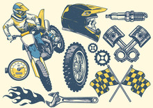 Set Of Motocross Objects In Retro Hand Drawing Style