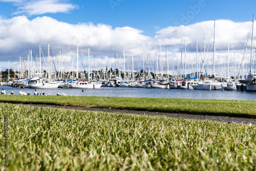 Scenic view of a yacht port. Wrest point marina, Hobart, Australia, cloudy sky in background.