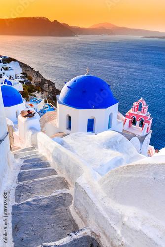 Tuinposter Santorini Santorini, Greece - Oia twilight with greek church