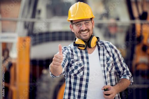 Obraz Portrait of a worker in factory - fototapety do salonu