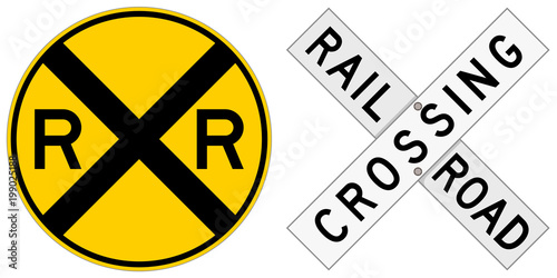 Fotografiet Vector illustration of two railroad crossing signs: a round sign and a crossbuck