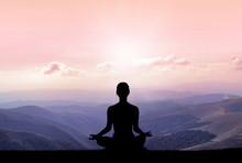 Yoga Silhouette On The Mountai...