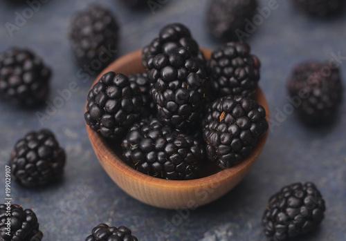 Fresh Plump Blackberries on a Slate Countertop