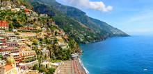 Positano, Amalfi Coast, Campania, Italy. Panoramic View On Old Town At Sunny Day