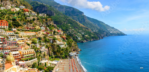 Garden Poster Napels Positano, Amalfi Coast, Campania, Italy. Panoramic view on old town at sunny day