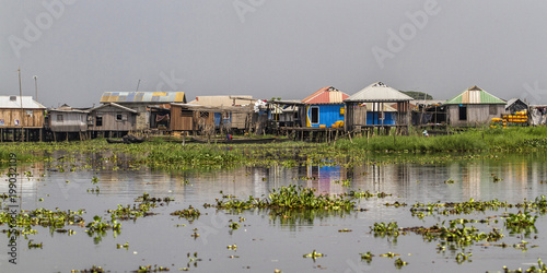 The village of Ganvie ying in Lake Nokoué, near Cotonou in Benin Canvas Print