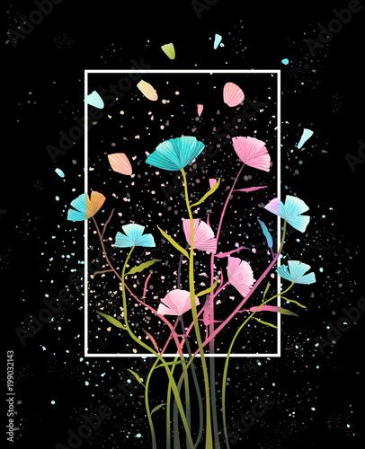 uklad-kwiatowy-na-czarnym-tle-z-platkami-dla-napis-projekt-wektor