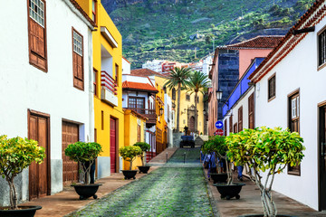 Charming colorful streets of old colonial town Garacico in Tenerife, Canary islands