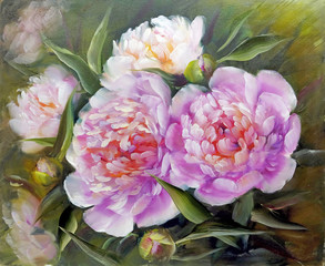 Fototapeta Popularne Romantic Pink Peonies, oil painting on canvas