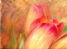 Vintage Red Tulips . Oil Paint...