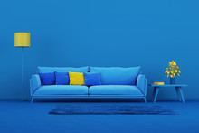 Interior Design Minimal Style Concept. Blue Modern Sofa In Blue Living Room