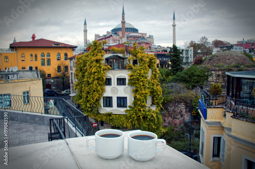 Poster Cracovie Coffee on the roof view Istanbul, Ai Sofia mosque