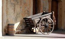 Old Wooden Cart With Old Wall, San Juan, Puerto Rico, Caribbean