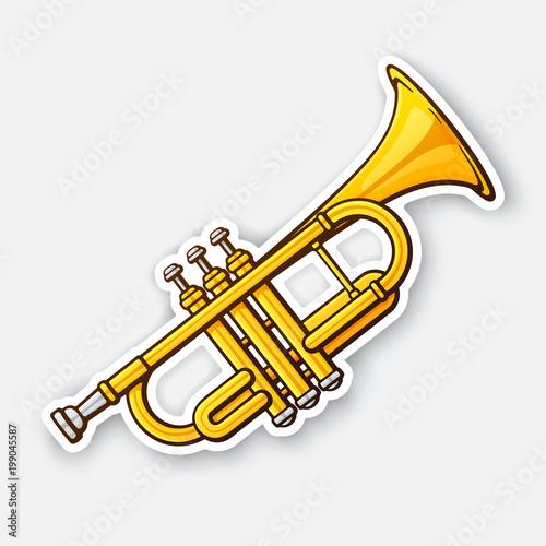 Slika na platnu Sticker of classical music wind instrument trumpet