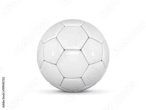 Foto op Plexiglas Bol White leather ball. Soccer ball on white background. Golden football 3d ball