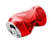 Crumpled Empty Can On White Ba...