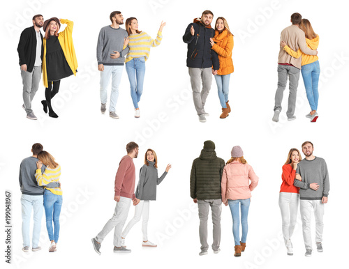 Collage with young couple in casual clothes walking on white background