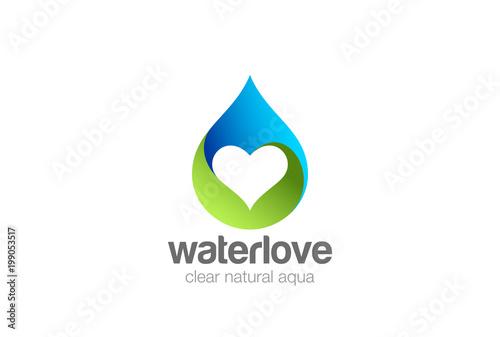 Fototapeta Water droplet Heart inside Logo design vector. natural aqua drop obraz
