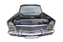 Front View Of An Old Black Car