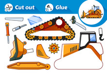 Cut And Glue Is An Educational Game For Kids. Yellow Bulldozer Side View.