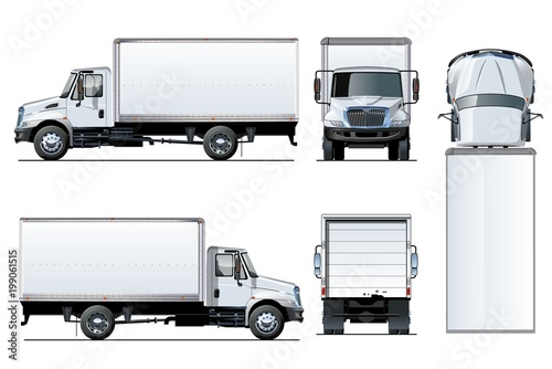 Fotomural  Vector truck template isolated on white
