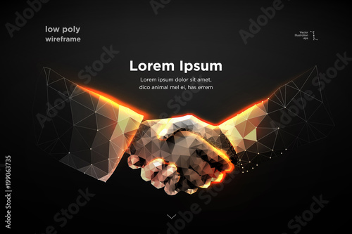 Fotografie, Obraz  handshake. Blockchain.  vector