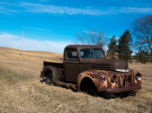 Rusty Old Truck In Field Aband...