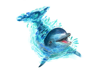 Fototapeta Delfin The dolphin splashes in the water. Watercolor art. A fun dolphin is played in the water. Splashes fly in all directions. Fashionable illustration.
